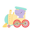 funny red cheeked hippo riding on train vector image vector image