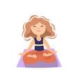 girl doing yoga on yoga matt in lotos pose vector image vector image