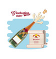graduation card with wine bottle vector image