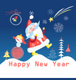 greeting cards with santa claus vector image vector image