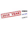 grunge 2019 year textured rectangle watermarks vector image vector image