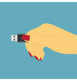 hand with USB vector image vector image