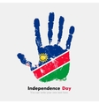 Handprint with the Flag of Namibia in grunge style vector image vector image