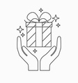 Hands holding a gift vector image