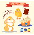 happy easter set elements - rabbit eggs chicken vector image