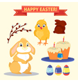 Happy Easter Set of Elements - Rabbit Eggs Chicken vector image