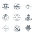 hipster world logo set simple style vector image
