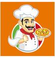 pizza chef logo cartoon vector image vector image