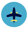 plane icon on round blue background vector image vector image