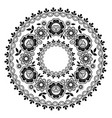 round lace black pattern mandala design vector image