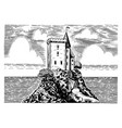 scenic view vintage fortress on a hill on a vector image vector image