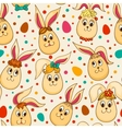 Seamless pattern with cute Easter rabbits vector image vector image