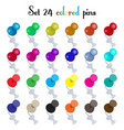 set 24 colored pins vector image