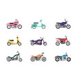 set bike and motorcycle transportation flat vector image
