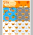 Set of animal seamless patterns with fox 2 vector image vector image