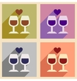 Set of flat web icons with long shadow wine vector image vector image