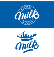 set of milk hand written lettering logo label vector image vector image