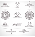 set of mountaineering and tourism emblems vector image
