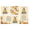 set posters and seamless pattern with bakery vector image vector image