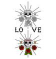 skull and flowers tattoo template vector image vector image