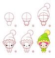 step step drawing cute cartoon elf vector image vector image