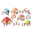 street or fast junk food tent counter stall vector image