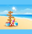 summer beach with wooden arrow vector image