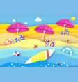 surfboard pink parasol - umbrella in paper cut vector image vector image
