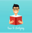 time to studying young man reading a book flat vector image