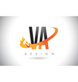 va v a letter logo with fire flames design and vector image vector image
