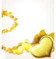 Valentine heart and yellow petals vector image vector image