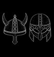 viking helmets hand drawn sketch vector image vector image