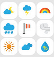 weather flat icons set collection of sun vector image vector image