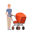 woman and pram on a white background character vector image vector image