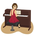 young woman playing brown upright piano vector image vector image