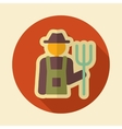 Farmers retro flat icon with long shadow vector image