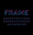 3d linear font alphabet with latin letters and vector image