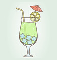 a glass with a cocktail slice of lemon with vector image vector image