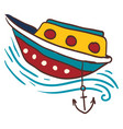 anchored small boat or color vector image vector image