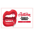 autumn sale lettering in frame woman mouth with vector image vector image