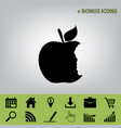 bite apple sign black icon at gray vector image vector image