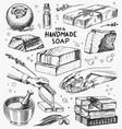 bubble bath soap set washing hands in vintage vector image vector image