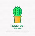 cactus with prickles in pot thin line icon modern vector image