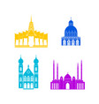 cartoon silhouette color churches and temples icon vector image