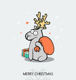 Christmas doodle greeting card with deer vector image vector image