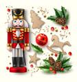 christmas symbol realistic set nutcracker vector image vector image
