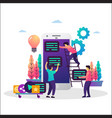co working team mobile app development vector image vector image
