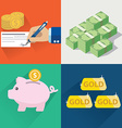 collection of flat and colorful money and finial vector image vector image
