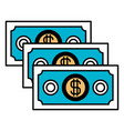 color sections silhouette of money bills set vector image vector image