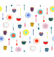 colorful plates dishes seamless background vector image vector image